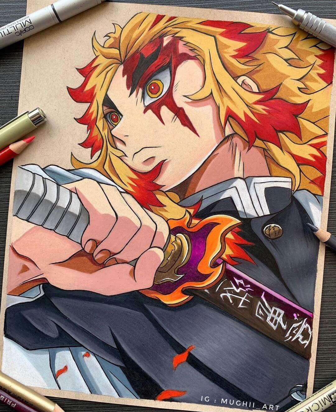 Rengoku from Demon slayer by mughii_art - Manga Art