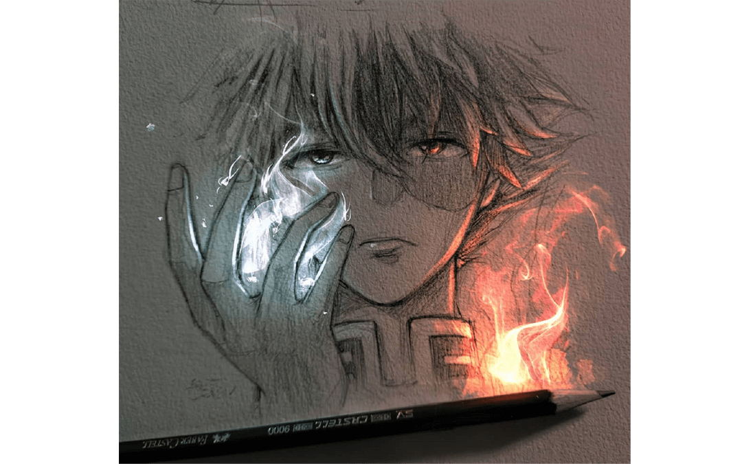 Todoroki from My Hero Academy Manga Drawisng